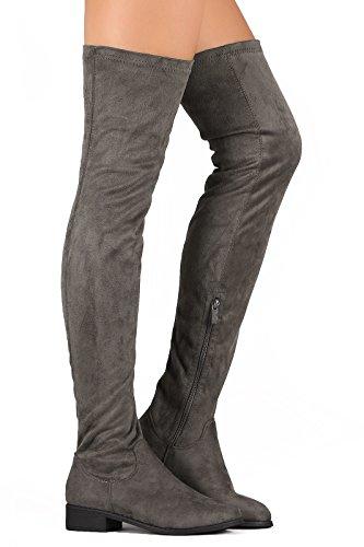Frauen Oberschenkel hohe flache Reitstiefel Stretchy Mädchen Nacht Low Block Heel Pull auf Dressy Casual Combat Stiefel von ShoBeautiful (TM) Grau
