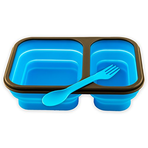 Collapsible Lunch Box - Best Bento Silicone Lunchbox With Two Compartments, BPA Free, Great for School, Blue