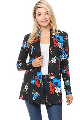 Pastel by Vivienne Women's Long Sleeve Jersey Cardigan Small Floral Black Blue ()