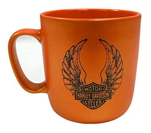 Harley-Davidson Winged B&S Orange Luster Finish Coffee Cup, 18 oz. 3OPM4900 (Va Flags Decorative Richmond)