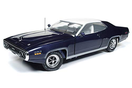 Auto World 1971 Plymouth Satellite Sebring Plus Hard Top, Purple with White AMM1146 - 1/18 Scale Diecast Model Toy Car