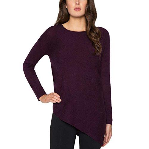 Matty M Ladies' Asymmetrical Sweater, Wine (Asymmetrical Wool Sweater)