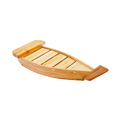 Bamboo Sushi Boat, Wooden Sushi Boat, Sushi Serving Boat, Sushi Boat Plate - 13 Inches - 1ct Box - Restaurantware