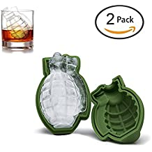 [2 Pack]3D Grenade Shape Ice Cube Mold, Keeper Silicone Cake Mold Ice Cream Trays Mold for Great Bar Party Gift and Kitchen Tools