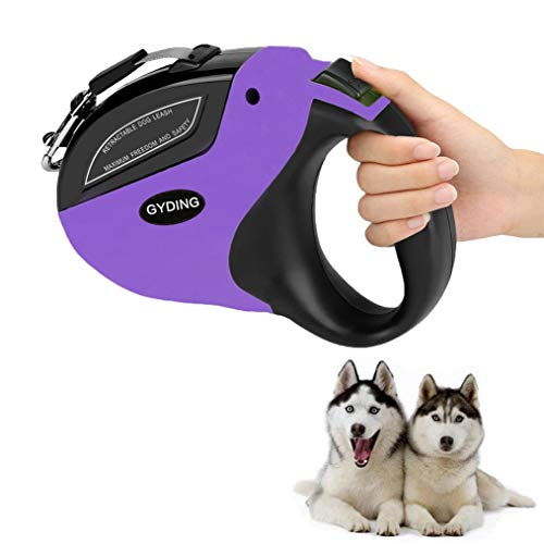 (GYDING Retractable Dog Leash, Anti-Slip Pet Walking Jogging Training Leash for Small Medium & Large Dogs Up to 110lbs, Strong Nylon Ribbon Extends 16ft, One Button Brake & Lock)