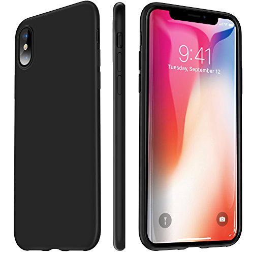 iPhone X Case, VANMASS 0.5MM Ultra Thin Slim Fit Full Protective iPhone 10 Shell with Super Soft TPU Material and Anti-Scratch Matte Back Cover Case for iPhone X - Black