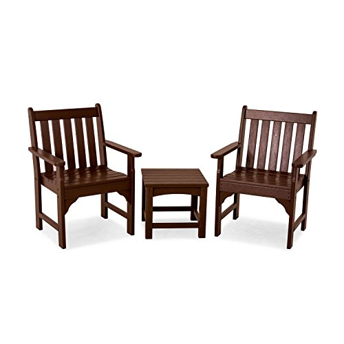 POLYWOOD PWS142-1-MA Vineyard 3-Piece Garden Chair Set, Mahogany (Polywood Club)