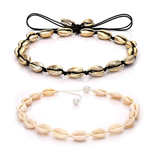 YINL Shell Choker Necklace –Natural Cowrie Shell Beads Handmade Hawaii Summer Beach Necklace Jewelry for Women Girls Ladies (Gold Color) ()