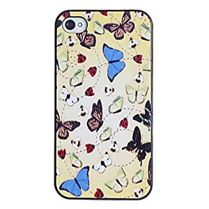 GJY Mini Butterflies on Net Pattern PC Hard Case with Black Frame for iPhone 4/4S
