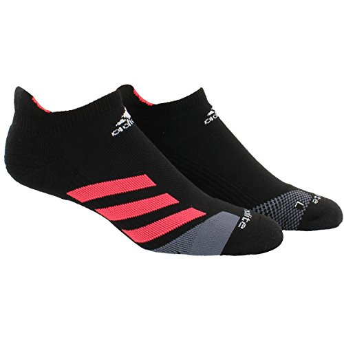 adidas Unisex Traxion Tennis No Show Sock (1-Pair), Black/Shock Red/Onix/White, Large, (Shoe Size 9.5-12)