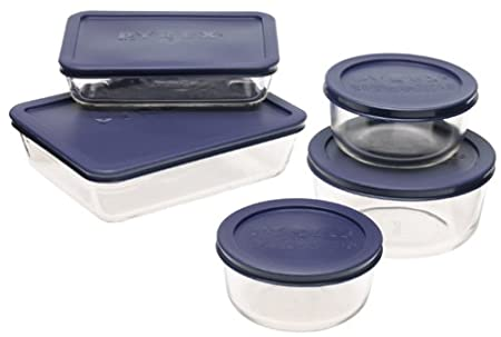 Pyrex Storage 6-Piece Round Set, Clear with Blue Lids 6010170