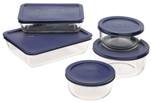 Imagine Glass Bowl - Pyrex Simply Store 10-Piece Glass Food Storage Set with Blue Lids