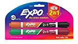EXPO Dry Erase 2-in-1 Markers, Chisel Tip, Assorted, 2-Count