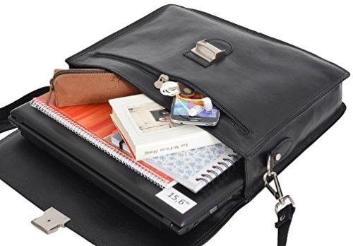 "Gusti Cuir studio ""Anthony"" sac business made in Italy sac bureau attache-case en cuir véritable sac notebook ordinateur portable 15,6"" sac professeur hommes femmes noir 2B31-93-2"
