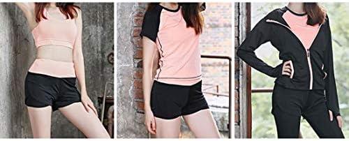 ヨガスーツレディースヨガスーツ女性トラックスーツジムスポーツTシャツ/ショーツ/スポーツブラ/長袖のジャケット/ズボン5枚セット