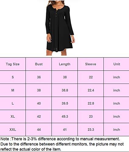 Eanklosco Femmes Col en V Robe Casual Balançoire Simple Ébouriffer Boutonner en Vrac Robes Manche Longue (Caffè Leggero, XX-Large/FR44-46)
