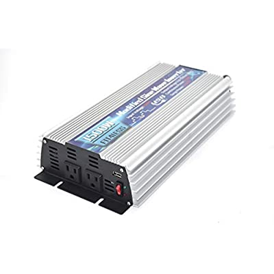 Power Inverter 1500W with Output Dual sockets. Input 12V or 24V and Output 110V 60Hz with DC5V 2000mA Output. (12V): Car Electronics
