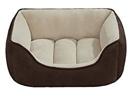 Beatrice Home Fashions SUEPTB24CHT Suede Reversible Cuddler Bed for Dogs/Cats/Pets, Chocolate/Taupe