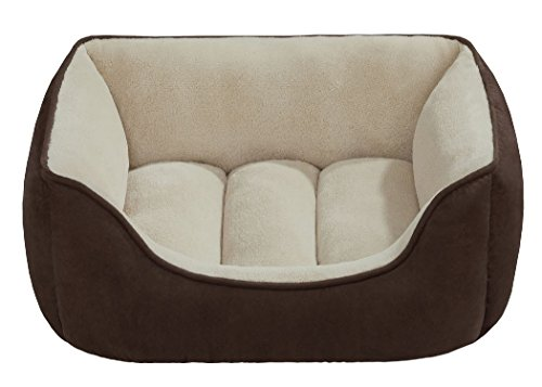 Beatrice-Home-Fashions-SUEPTB24CHT-Suede-Reversible-Cuddler-Bed-for-DogsCatsPets-ChocolateTaupe