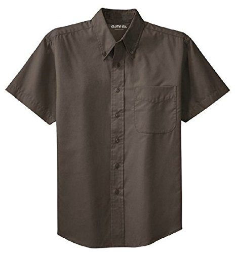 Brown Short Sleeve Work Shirt (Clothe Co. Mens Short Sleeve Wrinkle Resistant Easy Care Button Up Shirt, Bark, L)