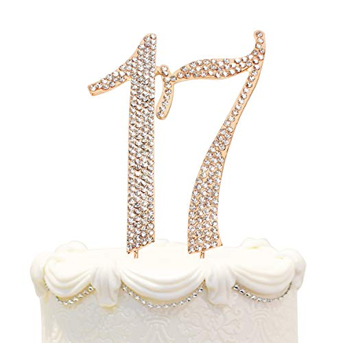 Price comparison product image Hatcher lee Bling Crystal Rhinestone 17 Birthday Cake Topper - Best Keepsake / 17th Party Decorations Gold