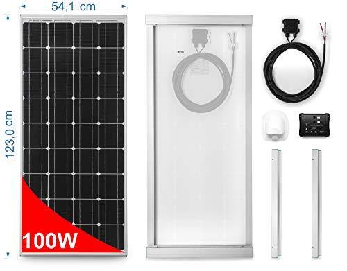 100W Monokristallijn zonnepaneel voor campers Complete kit met montageaccessoires en 10Aregelaar