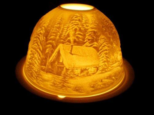 Chaozhou Porcelain Factory Photophore en porcelaine pour bougie chauffe-plat Motif forêt