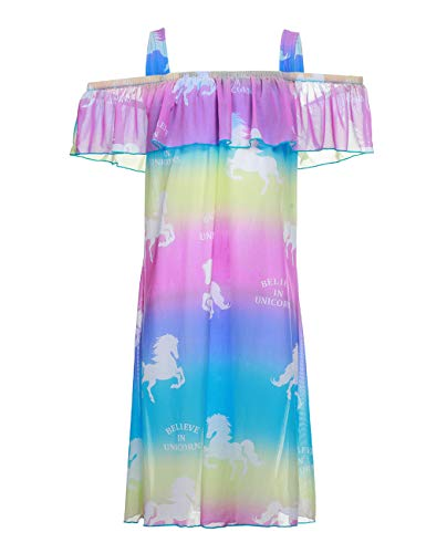 Girls One Piece Swimwear Cover Ups, Lace Rainbow Off Shoulder Swimsuits Cover Ups Unicorn Bathing Suits Cover Up Dress -