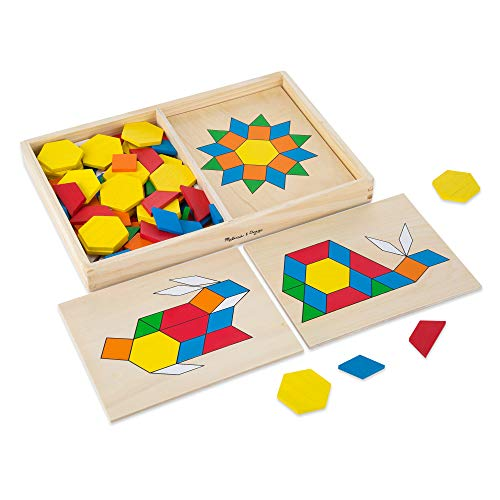 Melissa & Doug Pattern Blocks and Boards Classic Toy (Developmental Toy, Wooden Shape Blocks, 120 Shapes & 5 Boards, Great Gift for Girls and Boys - Best for 3, 4, 5, and 6 Year Olds)