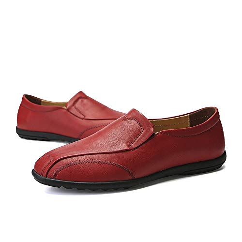 Xiaojuan traspirante Pelle Dimensione un Uomo Color con Casual Rosso 41 Lofer shoes EU Light Rosso Scarpe uomo Soft da Oxford Leather pedale Business rrzcqwaf