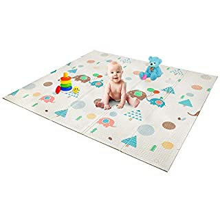 "Foldable Play Mat | Non- BPA Non-Toxic Foam Baby Playmat 79"" x 71 x 0.4"" Thick Extra Large Reversible Crawling Mat Portable Toddlers Kids Waterproof Non-Slip Activity Tummy Time"