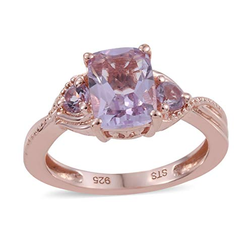 925 Sterling Silver 14K Rose Gold Plated Cushion Pink Amethyst Statement Ring for Women Size 11 Cttw 1.1
