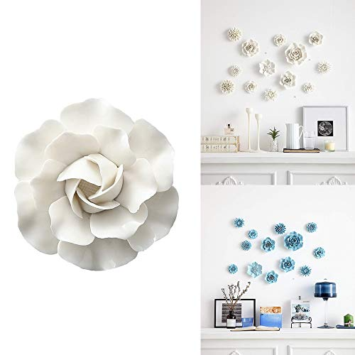 ALYCASO Artificial Flowers Wall Decoration for Living Room Bedroom Hanging 3D Wall Art Ceramic Flower Pediments Sculpture (E - White, 2.72 inch) -