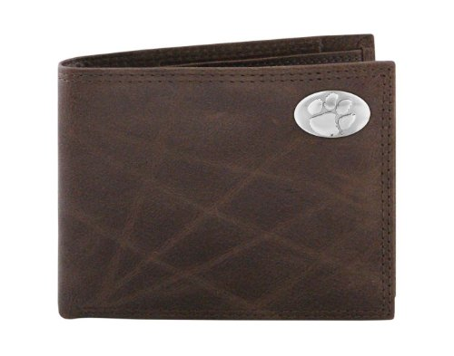 NCAA Clemson Tigers Brown Wrinkle Leather Bifold Concho Wallet, One Size