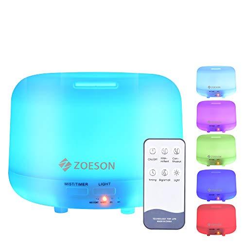 ZOESON Humidificador Ultrasonico, Difusores Humidificadores Aromas de 300ml, Difusor de Aceites Esenciales con Control Remoto, 7 Color LED, 3 Temporizador Hogar, Humificador Oficina
