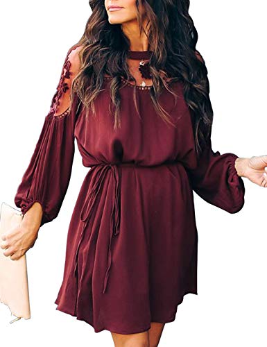 Shineya Women's Casual Dress with Floral Lace Vintage Long Sleeve Hollow Lace Dress with Belt M