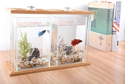 デスクトップミニ水槽小さな水槽水槽竹木材生態スーパーホワイトフィッシュタンク水槽水族館金魚タンクホームクリエイティブ