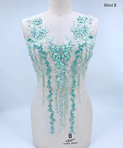 Lace Applique 3D Beaded Embroidered Floral Rhinestone Trim Patches Great for DIY Neckline Bodice Wedding Bridal Prom Dress A2AB (B, Mint)