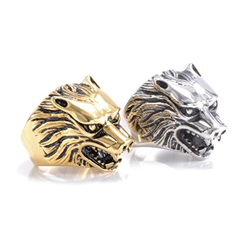 Men's 316L Stainless Steel Wolf Head Ring Silver
