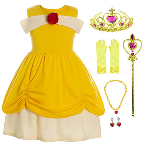 Girls Easter Clothes (Princess Belle Costume Dress Up Outfits for Little Girls/Yellow Easter Birthday Dresses with Crown,Mace,Gloves,Necklace,Earrings 3T)