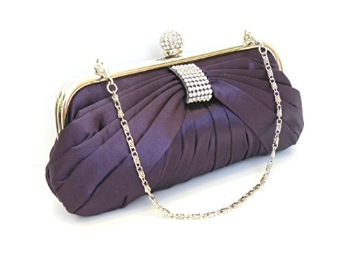 Handheld Evening Bag (Elegant Pleated Smooth Touch Satin Evening Bag Wedding Bag Party Bag.With a Rhinestone-Encrusted Centered. Handheld and Long Shoulder Chain. 9