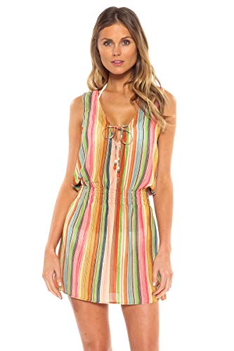 Becca-by-Rebecca-Virtue-Womens-Smocked-Stripe-Tank-Dress-Swim-Cover-Up