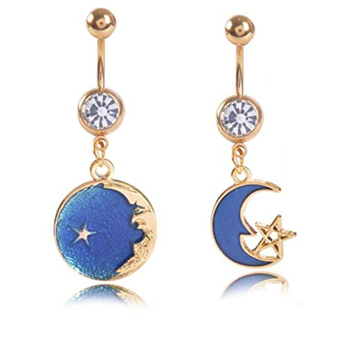 - Kjiasiw 14G Belly Button Ring with Moon and Stars CZ Dangling Dangle Navel Ring Body Piercing