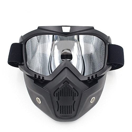 Ubelly Riding Goggles Mask With Detachable Mask Motorcycle Goggles Mask Airsoft Safety Goggles Mask Off- road Goggles UV400 Protection, Cool Helmet Riding Glasses (Silver) Head Adapt Edge