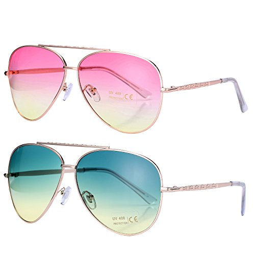 Pro Acme Aviator Style Sunglasses with Metal Frame Gradient Colored Lens UV400 Protection (2 Pairs) Gold Frame/Pink Yellow Lens + Gold Frame/Green Yellow - Light Ray Aviator Ii