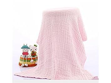 Flowerrs Casa Súper Suave y Agua Absorbente Toalla de Baño de Gasa de Algodón Recién Nacido Toallas de Baño de Algodón para Bebés_Rosa para bañarse: ...