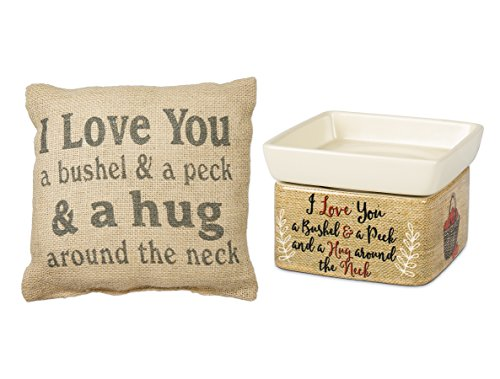 Love You a Bushel and Peck Electrical 2 in 1 Candle Wax Warmer and Burlap Pillow Set of 2