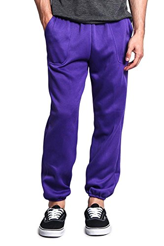 G-Style USA Men's Elastic Cuff Fleece Sweatpants - HILLSP - PURPLE - 3X-Large - (Golf Sweatpants)