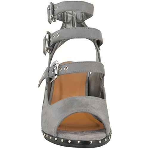MUJER VAQUERO Tachuela Sandalias Con hhebilla Tacón Bajo Zapatos de verano talla NUEVO Gris Cuero De Ante