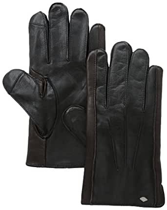 Joseph Abboud Men's Baby Cable Cashmere Lined Wool and Sheepskin Glove with Touch, Black/Brown, Medium